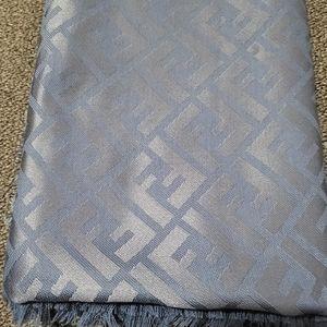 FENDI Blue scarf in wool and silk